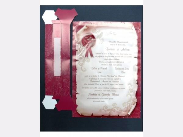 invitatii nunta papirus pergament visinii