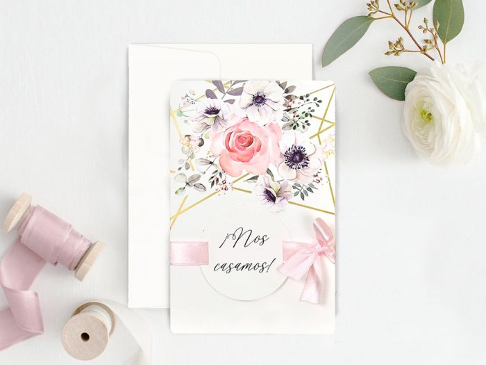 invitatii nunta 39723 crem eleganta roz