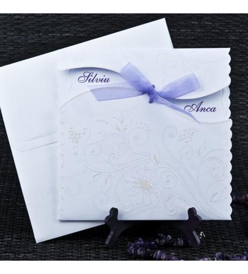 invitatii nunta alb mov 1068
