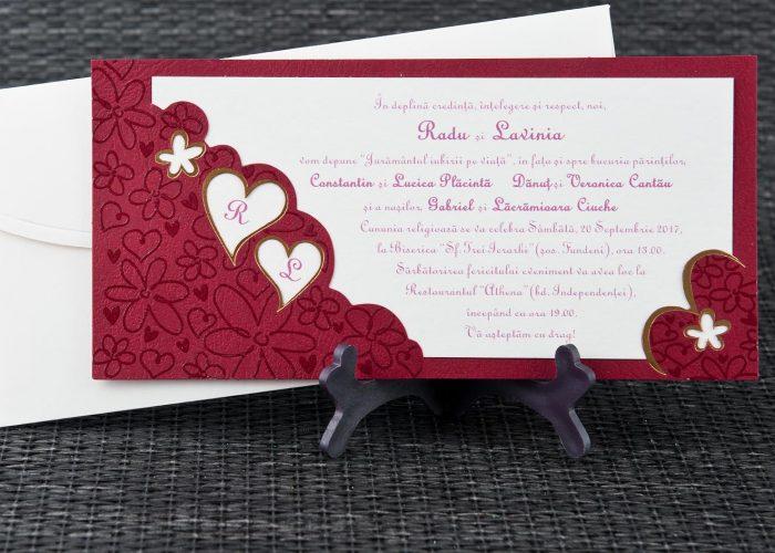 invitatii nunta visinii elegante 1070