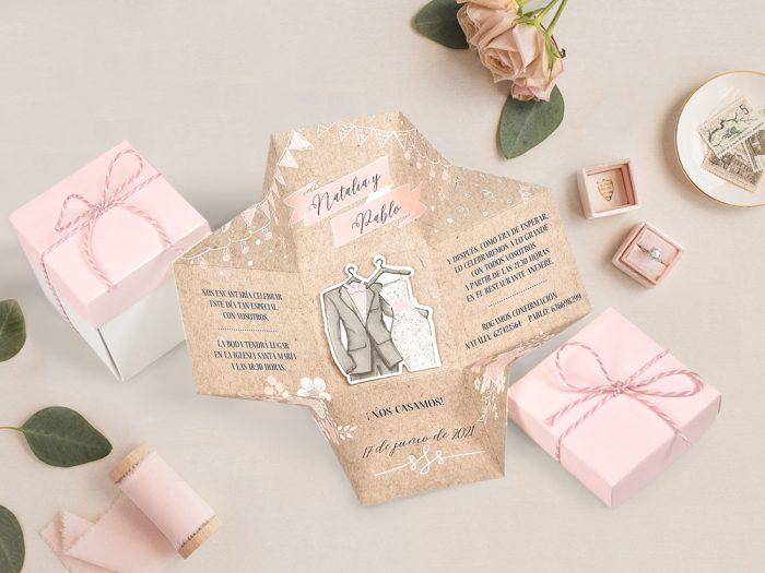 invitatii nunta 39720 haioase crem roz