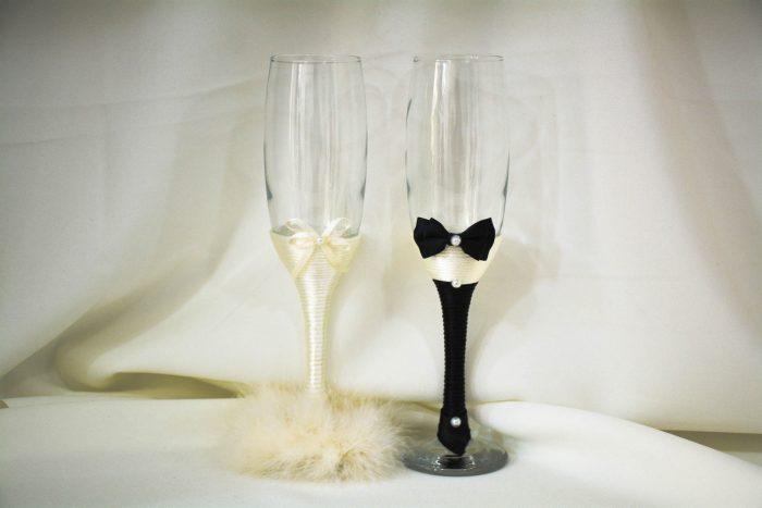 pahare nunta crem