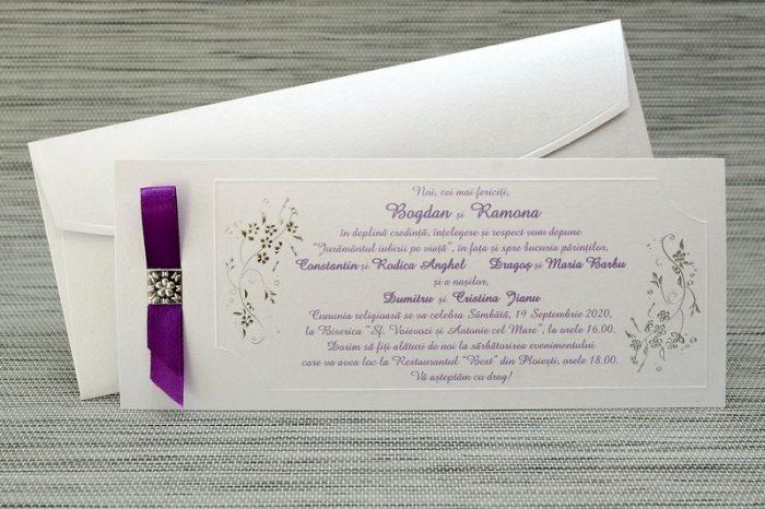 invitatii nunta aurii cu mov 35291
