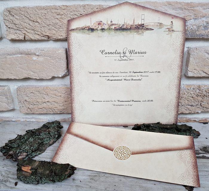 invitatii nunta vintage 2664