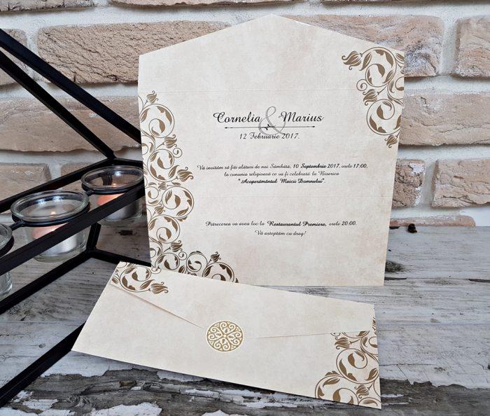 invitatii nunta vintage aurii 2668