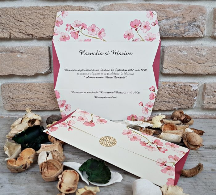 invitatii nunta vintage flori 2673