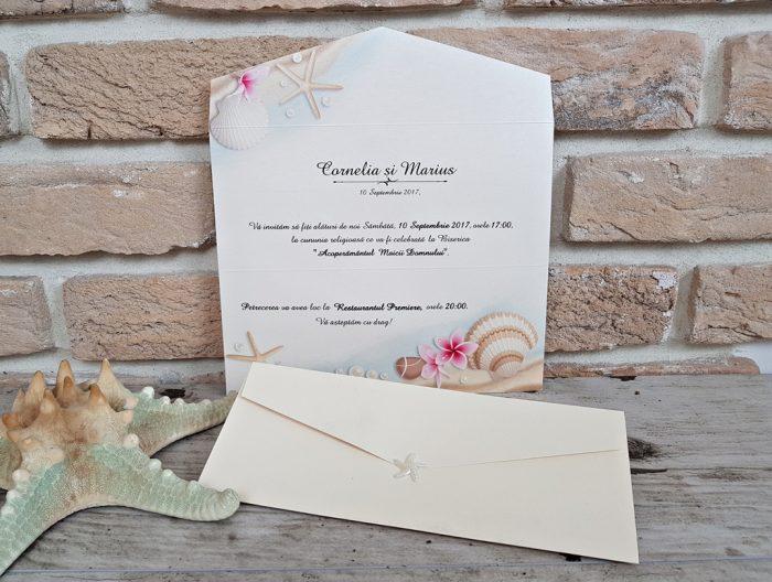 invitatii nunta tema marina scoici stelute de mare 2701