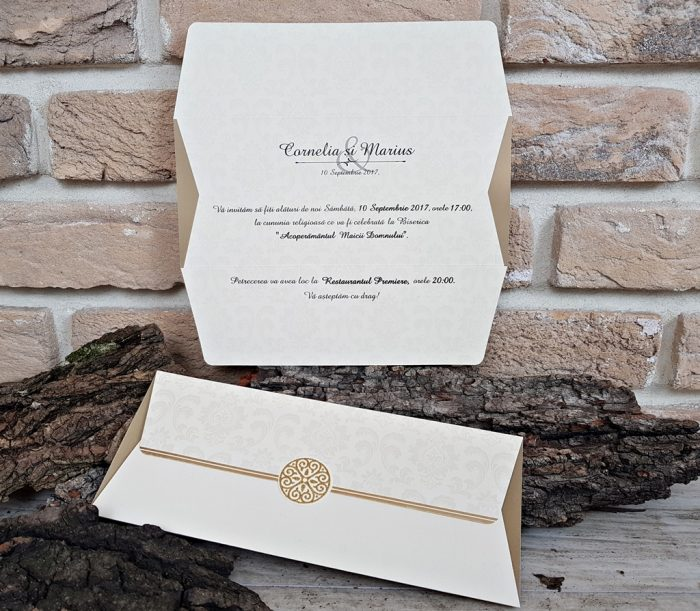 invitatii nunta vintage crem 2703