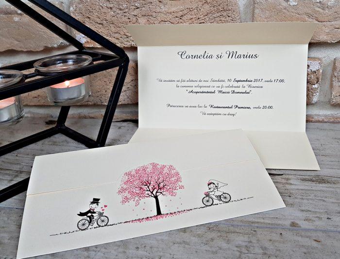 invitatii nunta comice haioase biciclete 2714