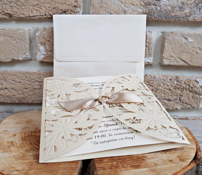 invitatii nunta crem elegante 2735