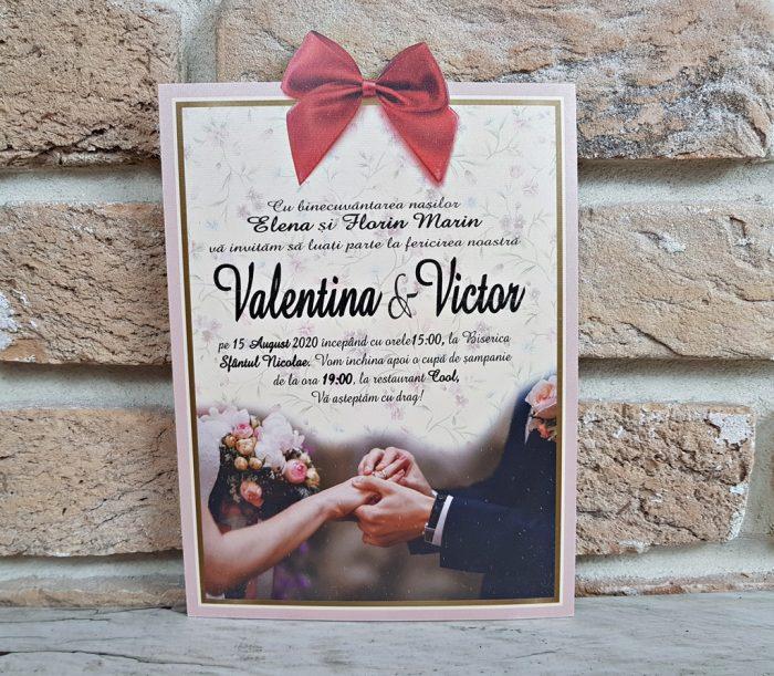 invitatii nunta vintage cu fundita 2738