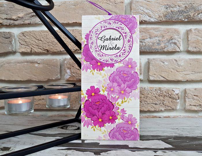 invitatii nunta flori mov 2782