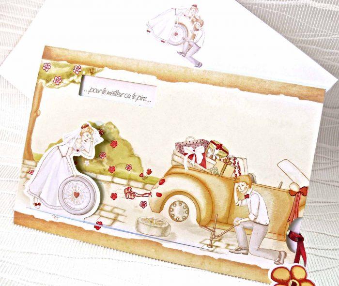 invitatii nunta mirii repara masina, pana la roata 31320