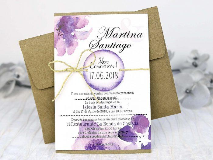 invitatii nunta vintage mov 32635