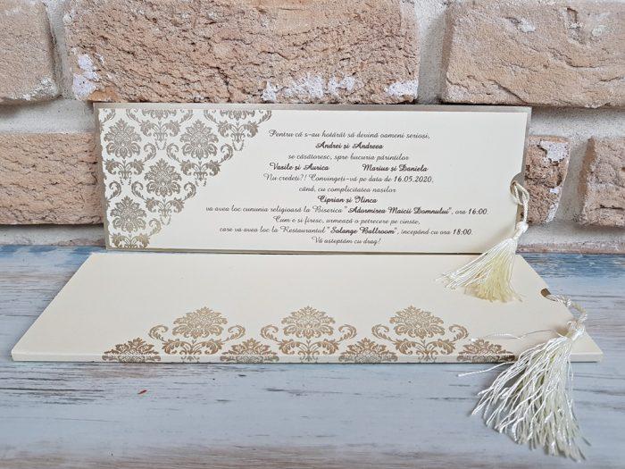 Invitatii nunta lux crem 3678
