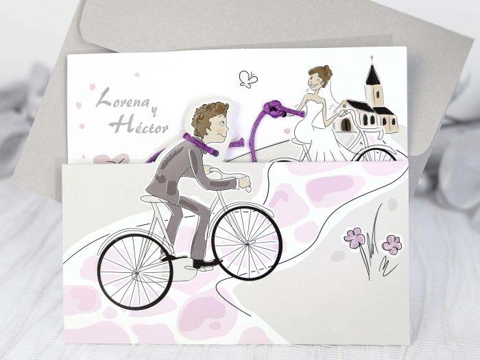 invitatii nunta comice bicicleta 39220