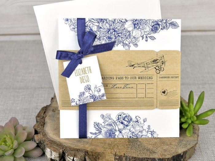 invitatii nunta albastre vintage 39325