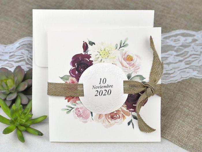 invitatii nunta 39622 crem vintage cu flori