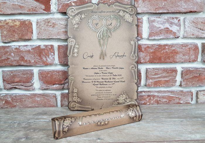 invitatie nunta 5316 papirus vintage