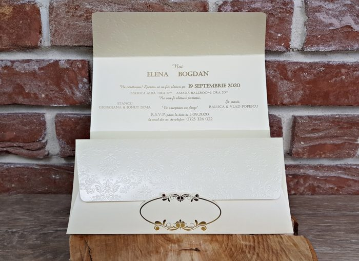 invitatie nunta 5658 eleganta clasica ieftinaa