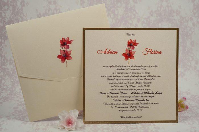 invitatii de nunta crem cu flori 10101