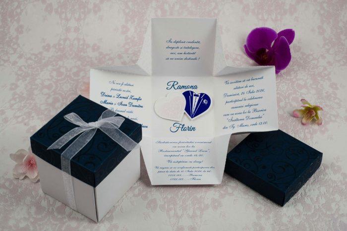 invitatii nunta albastre cutiuta 2191