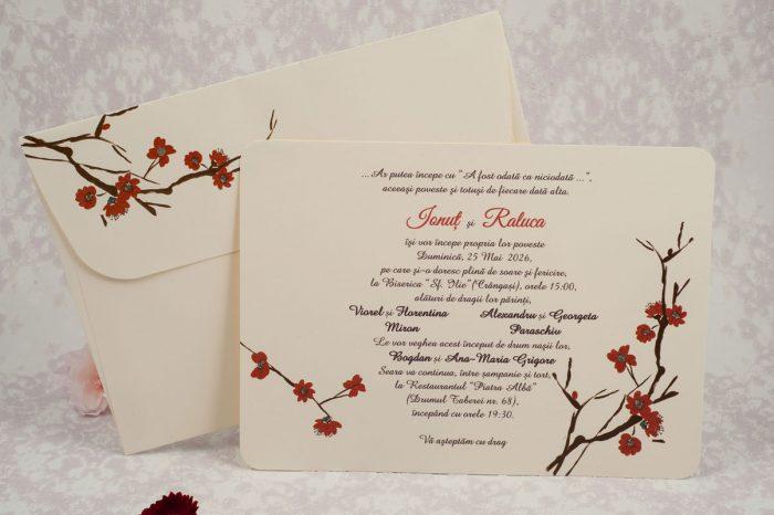 invitatii nunta crem cu flori rosii 10165