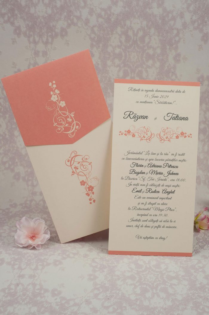 invitatii nunta roz 2196