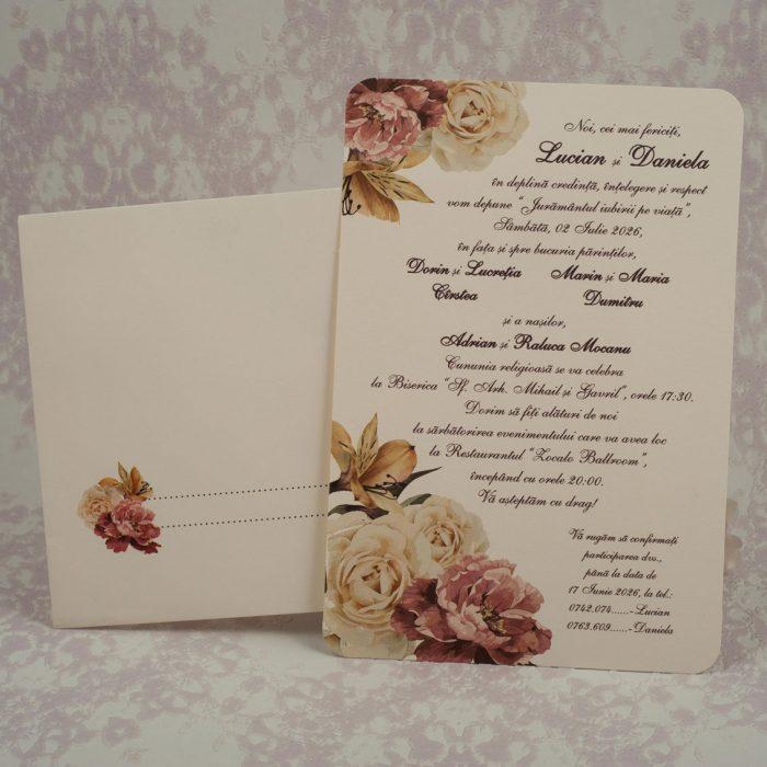 invitatii nunta crem clasice