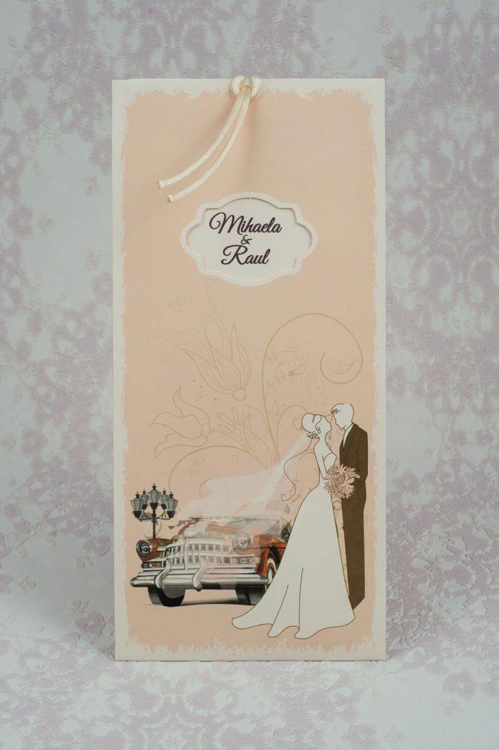 invitatii nunta vintage crem 2190
