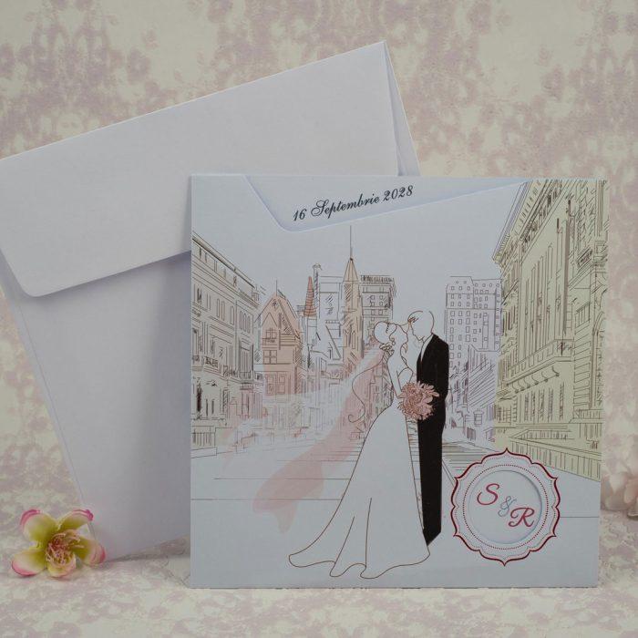 invitatii nunta vintage mire si mireasa 2189