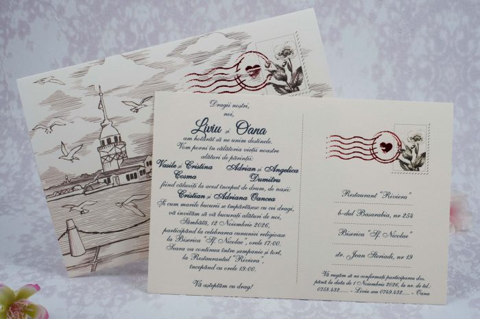 invitatii nunta vintage 2180