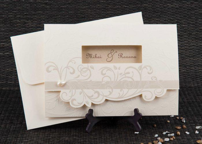 invitatii nunta crem 20804