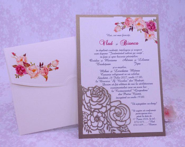invitatii nunta cu trandafiri decupati laser 2217
