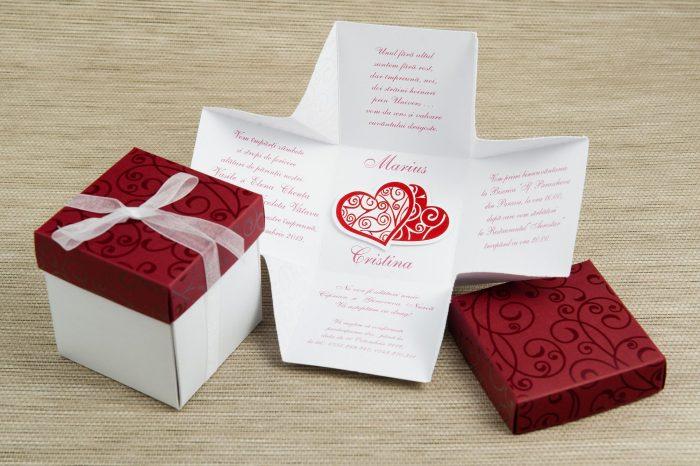 invitatii nunta cutiuta visinie 1157