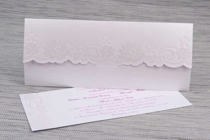 invitatii nunta argintiu cu mov 1175