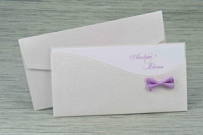 invitatii nunta mov si argintiu 1151