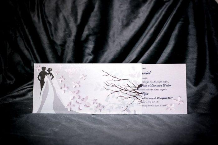 invitatii nunta argintii mire si mireasa 5015