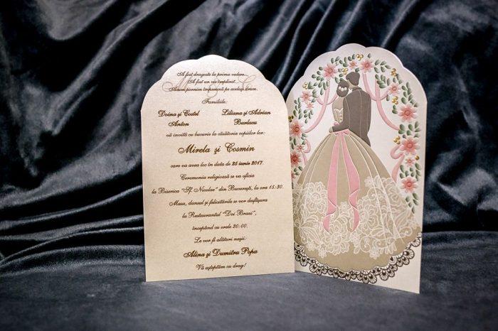 invitatii nunta crem mire si mireasa 5024