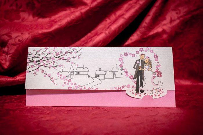 invitatii nunta roz comice 5006