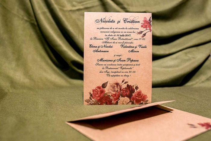 invitatii nunta vintage carton kraft maro 4028
