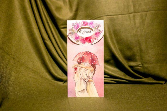 invitatii nunta vintage roz 5006