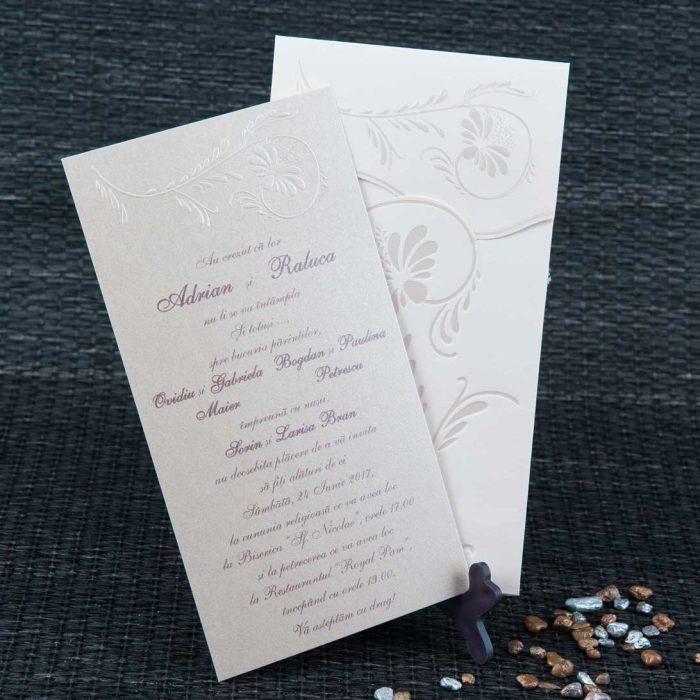 invitatii nunta crem elegante 1084
