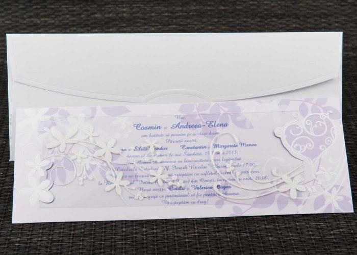 invitatii nunta mov elegante 1106