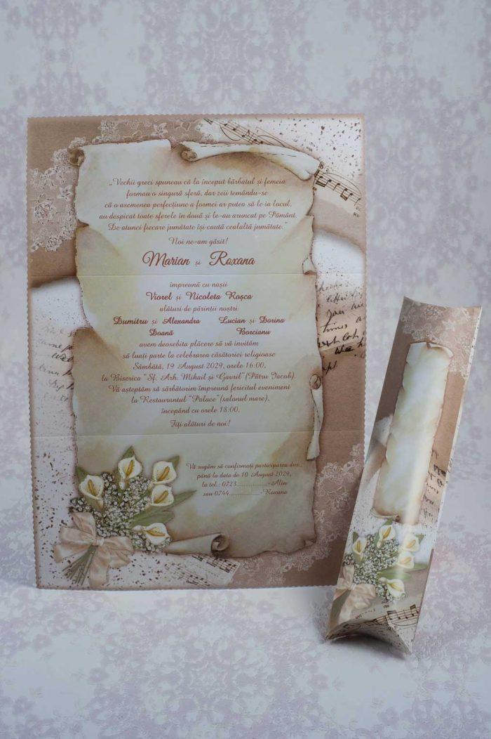 invitatii nunta papirus pergament 20724