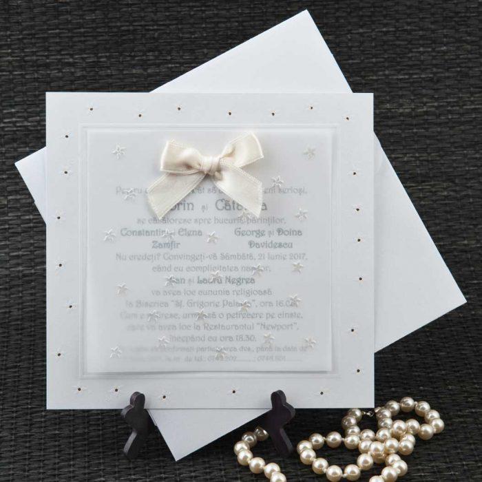 invitatii nunta albe elegante 5102