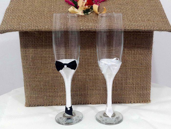 pahare nunta albe
